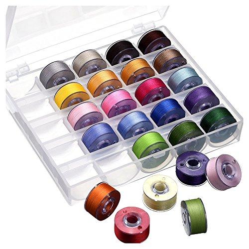 Kamenda Bobbin Case Organizador con 25 bobinas transparentes para máquina de coser e hilo de coser de colores surtidos para/Babylock/Janome/Kenmore/Singer