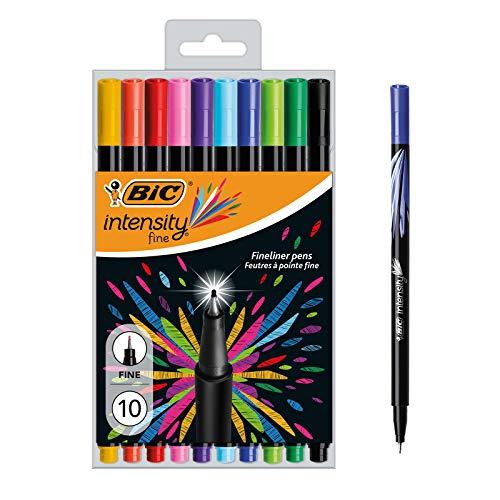 BIC Intensity Fine - Blíster de 10 unidades, rotulador punta fina (0,8 mm), colores surtidos