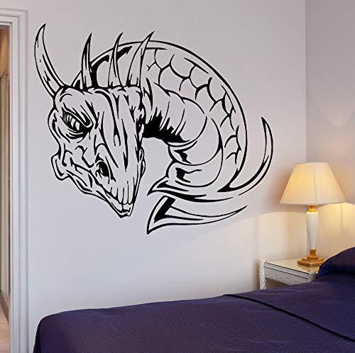 Beweegbare muur sticker draak vuur mythe fantasie monster interieur behang kunst slaapkamer woonkamer vinyl 85x75cm