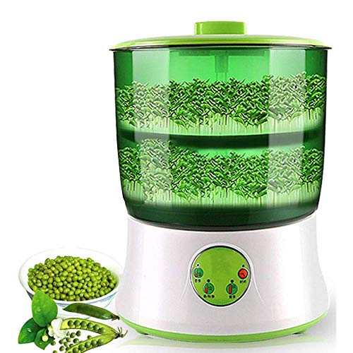 Bean Sprouts Machine, Automatic Intelligence Electric Seed Sprouts Maker Healthy Food Temperature Controller with 2 Layers Large Capacity Power-Off Memory