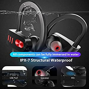 [Upgraded] Bluetooth Headphones, Bluetooth 5.0 Bass/Hi-fi Stereo/in-Ear Sports Earphones, 8-10Hour Battery, Workout Headset with IPX7 Waterproof, Built-in Mic Noise Cancelling Headset for Running, Gym
