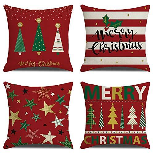 Lucoss Weihnachten Kissenbezug 4 Pack, Weihnachtsbaum Schneemann Wohnkultur Dekokissen Cases Xmas Holiday Home Schlafzimmer Dekokissen (B)