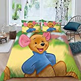 Win-nie The Po-oh Duvet Cover Set for Kids Boys Teens Twin Size Cute Cartoon Roo Cover Bedding Collections 3 Piece Including 1 Duvet Cover 2 Pillow Shams