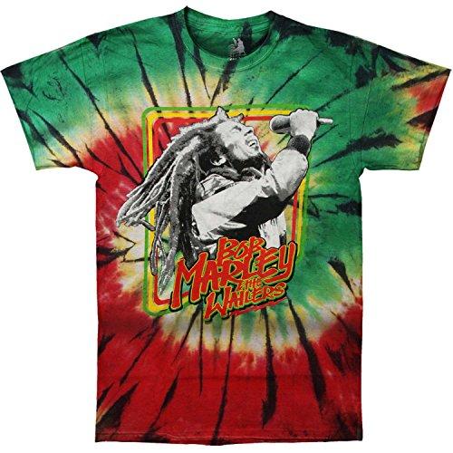 Bob Marley Men's Rasta Frame Live Tie Dye T-shirt Large Multi