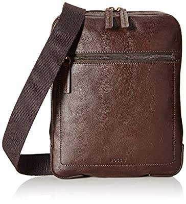 Fossil Men's Haskell Courier Backpack, Dark Brown, One Size