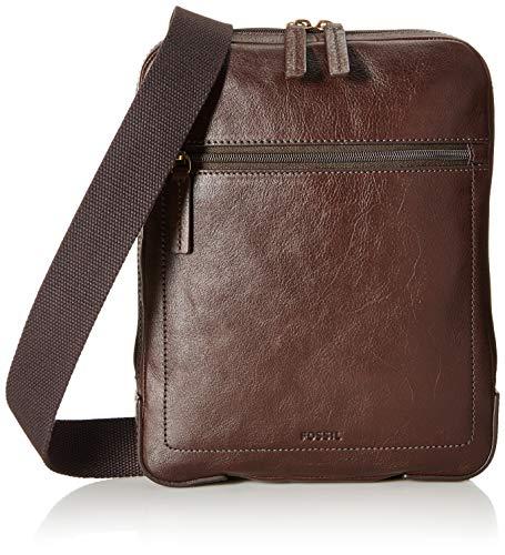 Fossil Men's Haskel Courier Leather Bag, Cognac
