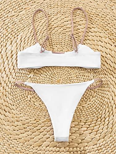 NBgy Bikinis para Mujer Traje de baño de Bikini de Correa Ajustable (Color : White, Size : S)