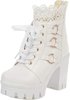 ELEEMEE Women Chunky Heel Platform Short Boots Zip
