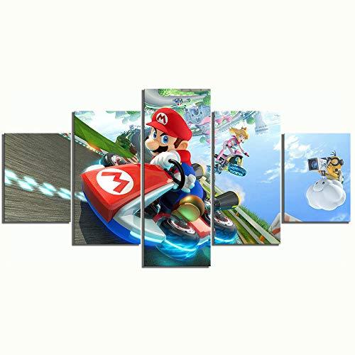 Loveygg Stampe su Tela 5 Pezzi Mario Kart Cartoon Gioco Immagini su Tela Stampate Immagini per La Casa Decorazioni per Soggiorno Poster Pittura su Tela,150x80cm