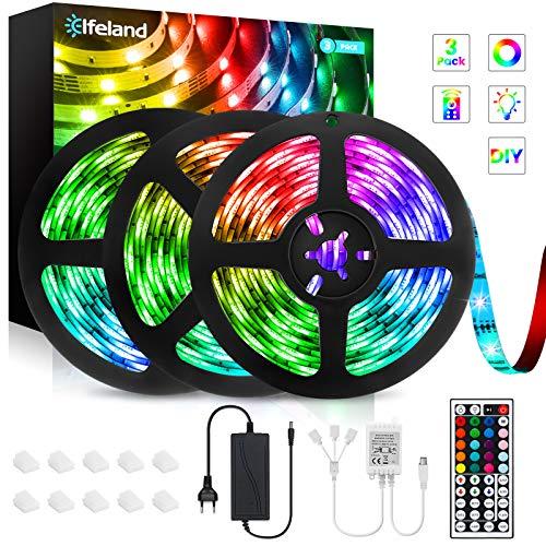 Tiras de Luces LED,Elfeland Tira LED Multicolor y Regulable 5050 RGB 12M(3x4M) Iluminación con 12V 360leds Control Remoto de 44 Botones Tira LED para Dormitorio Hogar Bar Fiesta Restaurante Bo