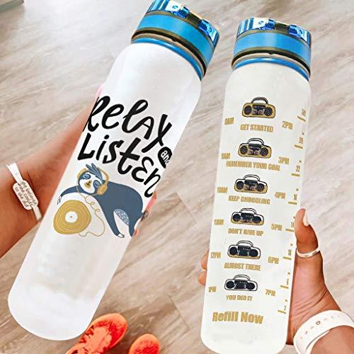 Bestwe Faultier Animales Botella de agua Tritan botella de agua con marcas de tiempo ligero botella deportiva para deportes al aire libre camping gimnasio blanco 1000 ml