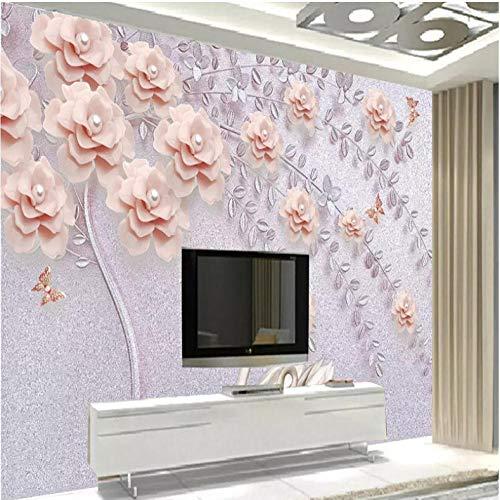 Pbbzl Fresko Fotobehang met 3D-muur, minimalistische tak, bloemenmotieven, woonkamer, tv, sofa, achtergrond, woondecoratie 350 x 250 cm.