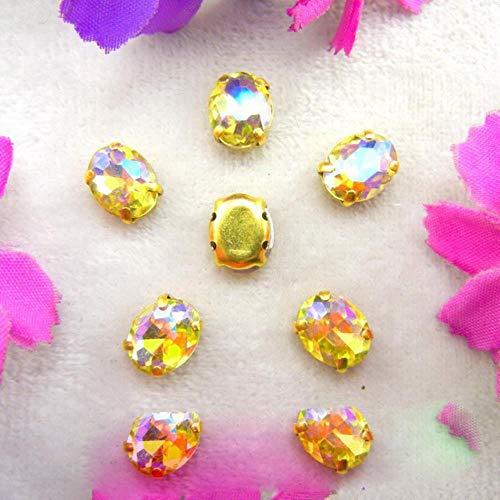 Configuración de garra de cristal de cristal dorado 7 tamaños Varios colores mezcla Forma ovalada Coser en cuentas de diamantes de imitación prendas de vestir zapatos accesorios diy