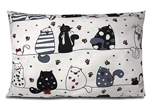 BALBINA Kinder Kissenbezug Kissenhülle Baumwolle Dekokissen Kinderzimmer (schwarze Katzen, 40x60 cm)