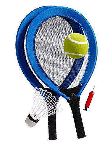 Best Sporting Jumbo-Tennis-Set, 2 Schläger, 1 Federball, 1 Tennisball, Ballpumpe, blau