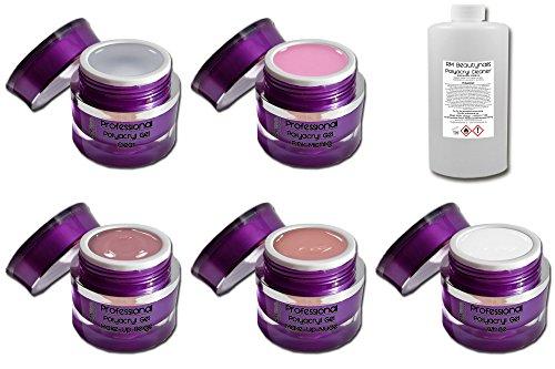 RM Beautynails Professional Line Lot de 5 flacons de gel polyacrylique 15 ml + 100 ml de nettoyant spécial UV gel acrylique