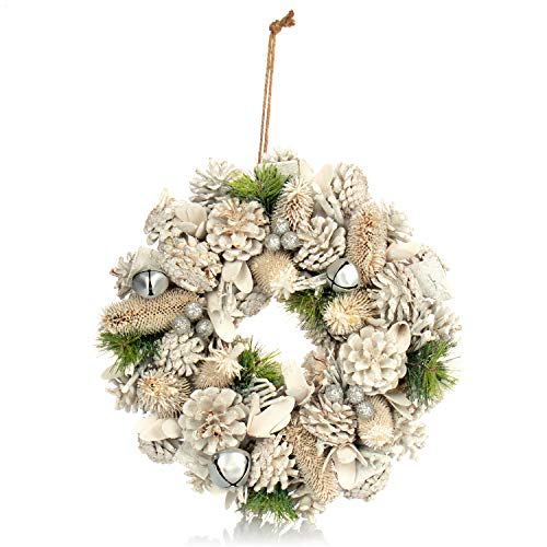 com-four® Türkranz für Weihnachten - weißer Adventskranz mit Glitzer - Dekokranz - Weihnachtsdeko - Tischkranz - Weihnachtskranz - Ø 32 cm