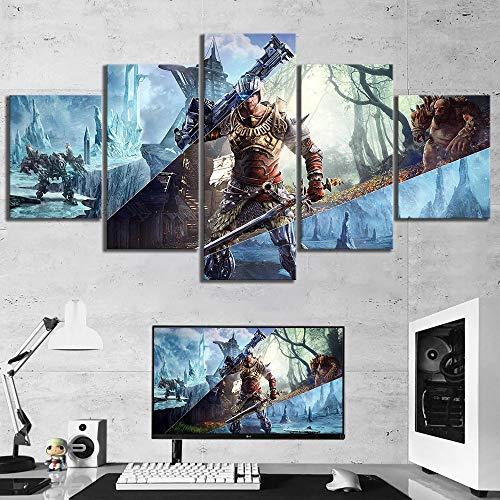 Shentop Fotografie 5 Stück RPG Spiel Elex Poster Leinwand Kunst Dekorative Gemälde Für Wohnkultur Wandkunst-Rahmen
