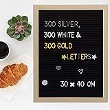 Relaxdays Letterboard, 40 x 30 cm, Holz, 900 x Zeichen, Buchstaben, Buchstabentafel, Message Board,...