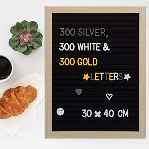 Relaxdays 10024076 message Letter Board bois tableau noir 40 x 30 rétro feutre mural 900 x signes, cadre (MDF), 40 x 30 x 2 cm