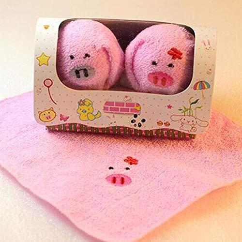 Gbcyp Cakevorm Verjaardag Reizen Borduren Paar Draagbaar draagbaar Schattig Dierenbad Katoen Kinderen Samengeperst Handdoek Feest, Varken
