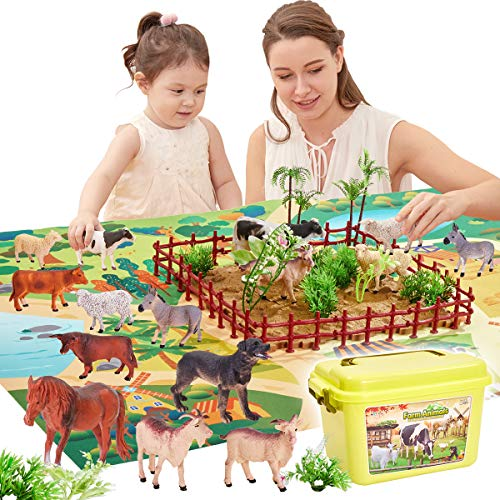 Buyger 58 Pieces Farm Animals Figures Toy Realistic Action Animals with Activity Play Mat in Carry Case for 3 Year Old Kid Boy Girl