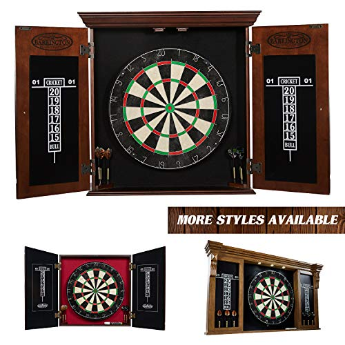Barrington Bristle Dartboard Cabinet Set: Professional Hanging Classic Sisal Dartboard with Self Healing Bristles and Accessories