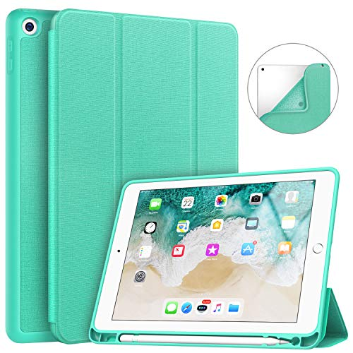 Soke iPad 9.7 2018/2017 Case with Pencil Holder, Slim Fit Smart Case, Trifold Stand Shockproof Soft TPU Back Cover, Auto Sleep/Wake Function for iPad 9.7 inch 5th/6th Generation,Mint Green
