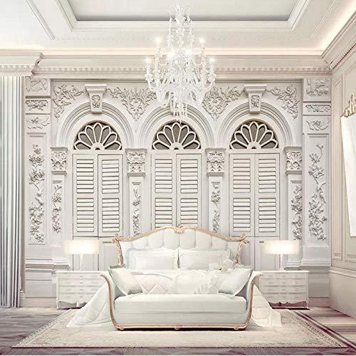 Benutzerdefinierte 3D-Fototapete Weiß Römische Säule Europäischer Stil 3D Geprägtes Wohnzimmer TV Hintergrund Wandbild Kunst Wandmalerei Seidentuch 250x175cm