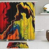 Juego de 2 cortinas de ducha con alfombra antideslizante, líquido abstracto, cortina de baño impermeable con 12 ganchos
