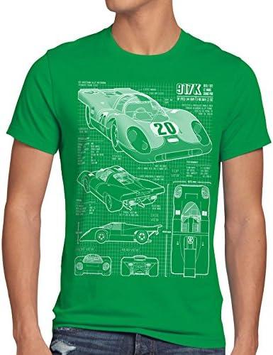 917K Cianotipo Camiseta para Hombre T-Shirt Le Mans Fotocalco Azul