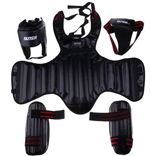 Sharplace Kit de Protectores de Pierna Pecho Cabeza Coquilla Protección Duradera Cómodo Taekwondo Arte Marcial Boxeo - Negro