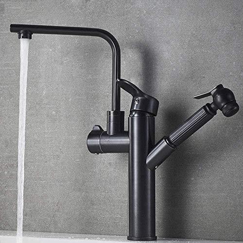 MLFPDXC-Cobre negro antiguo cuenca de extracción grifo de agua fría y caliente grifo giratorio del fregadero de la cocina esmerilado negro (color: cuadrado corto) - redondo alto
