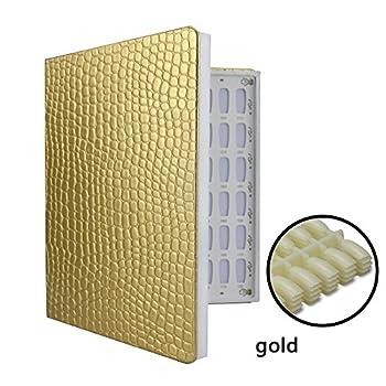NMKL38 120 Nail Color Chart Display Book for Nail Polish UV Gel Color Cards Nail Salon Tool with False Nail Tips  Gold