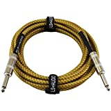 GLS Audio Guitar Cable - 1/4 Inch TS to 1/4 Inch Instrument Cable for Bass/Electric Guitar- Brown/Yellow Braided Tweed, 15ft