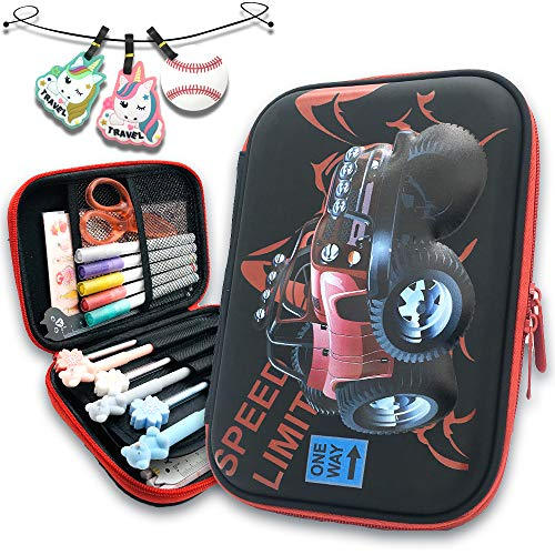 Cool Pen Cases for Boy Big Capacity Pencil Boxes with Compartment EVA Race-Car School Stationery Bags