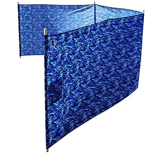erda Ocean Camo Elite Beach Recycled Polyester Rip-Stop Extra Tall 42' Lightweight Windscreen, Privacy Screen, Wind Blocker, Free Matching Shoulder Bag