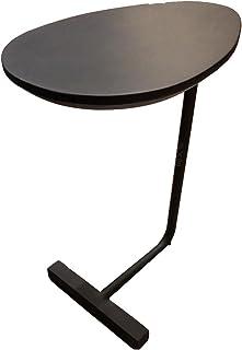 XIAOMEI クリエイティブシンプルな楕円形の小さなコーヒーテーブルモバイル木製の鉄のソファーコーナーいくつかの怠惰なベッドテーブル45 * 30 * 60センチメートル (色 : Black)