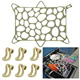 RamPula Silicone Dishwasher Net Stretchable Dishwasher Mesh Basket Net Prevent plastic cups,Bowls,Dish,pots,and pans from flying up for Universal Dishwasher Basket (Green)
