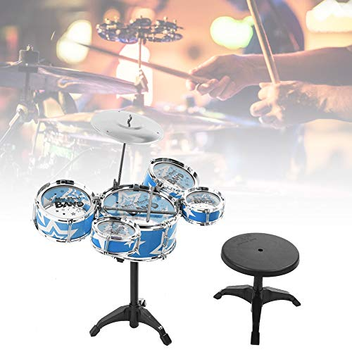 Instrumentos Musicales para Niños Tambor Infantil Bateria Musical Instrumentos Musicales Infantiles con Taburete Regalo de Cumpleaños para Niños Pequeños Bebés(Azul)