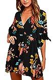 Meenew Women's Floral Print Mini Skater Dress Deep V Neck Flowy Summer Dress M Orange Black