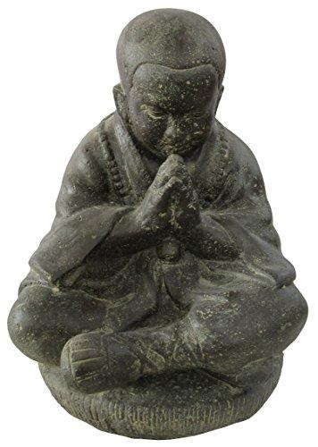 Moine assis, priant, 19 cm, figurine en pierre, coulé en pierre, résistant au gel