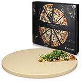 Navaris Pizza Stone for Oven XXL - Pastry Baking Tray Bread Tarte Flambée - Stone Round Pizza Barbecue Grill - Cordierite