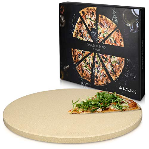 Navaris Piedra para pizza de cordierita - Piedra para horno redonda para pizza o pan - Bandeja para parrilla barbacoa o grill - XXL 35CM