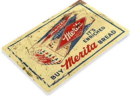 "Tinworld TIN Sign ""Merita Bread"" Metal Decor Art Kitchen Loaf Cottage Farm Store A805"