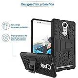 ROXEL Shockproof Back Cover for Lenovo Vibe K5 Note Hybrid Kickstand Back Case Defender Cover - Black