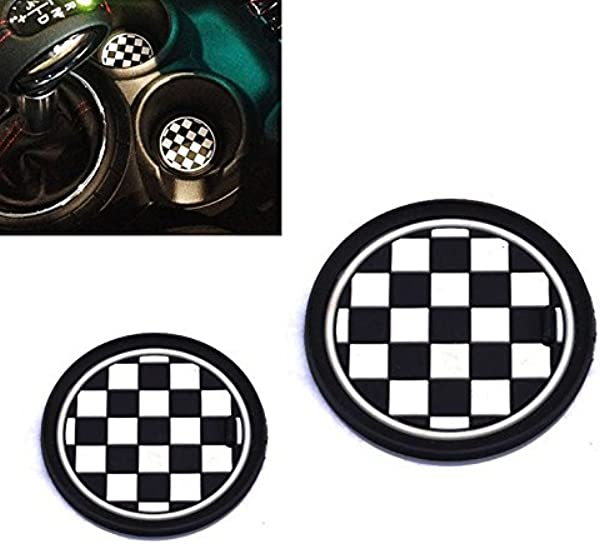 VCiiC 2 73mm Black White Checkered Checkerboard Pattern Soft Silicone Cup Holder Coasters For Mini Cooper R55 R56 R57 R58 R59 Front Cup Holders