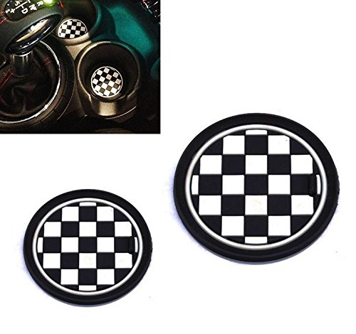 VCiiC (2 73mm Black/White Checkered Checkerboard Pattern Soft Silicone Cup Holder Coasters for Mini Cooper R55 R56 R57 R58 R59 Front Cup Holders