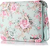 Shulaner 120 Slots Colored Pencil Case with Zipper Closure Large Capacity Green Rose Oxford Pen Organizer Flower Pencil Holder for Student or Artist