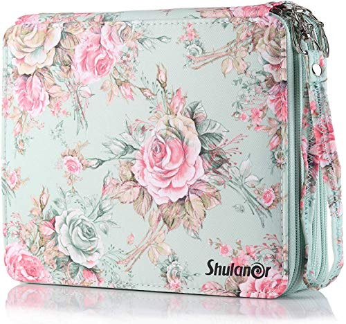 Shulaner 120 Slots Colored Pencil Case with Zipper Closure Large Capacity Oxford Pen Organizer